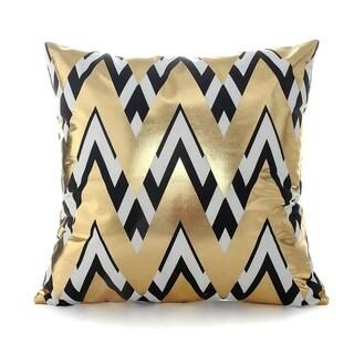 Flannel Pillow Case Gold White Black Geometric Pattern 18 x 18