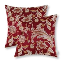 Cotton Linen Pillow Case Burgandy Leaves 18 x 18 Set of 2
