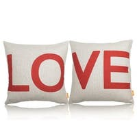 Cotton LInen Pillow Case Love Red and White 18 x 18 Set of 2