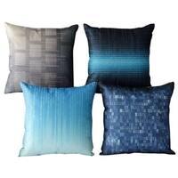 Cotton Linen Pillow Case Blue and Grey 18 x 18 Set of 4