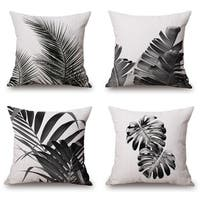 Cotton Linen Pillow Case Black and White Plants 18 x 18 Set of 4