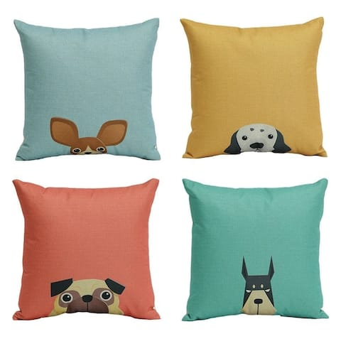 Cotton Linen Pillow Case Cartoon Dog 18 x 18 Set of 4 - Brown/Yellow