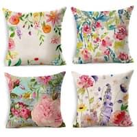 Cotton Linen Pillow Case Flowers 18 x 18 Set of 4