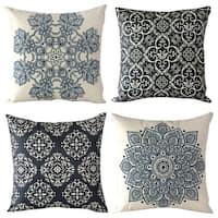 Cotton Linen Pillow Case European Classic 18 x 18 Set of 4