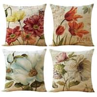 Cotton Linen Pillow Case European Flower 18 x 18 Set of 4