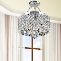 Silver Orchid Leblanc 4-light Chrome Semi-flush Mount Crystal Chandelier