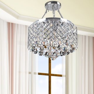 Porch & Den Cherrywood Willowbrook 4-light Chrome Semi-flush Mount Crystal Chandelier