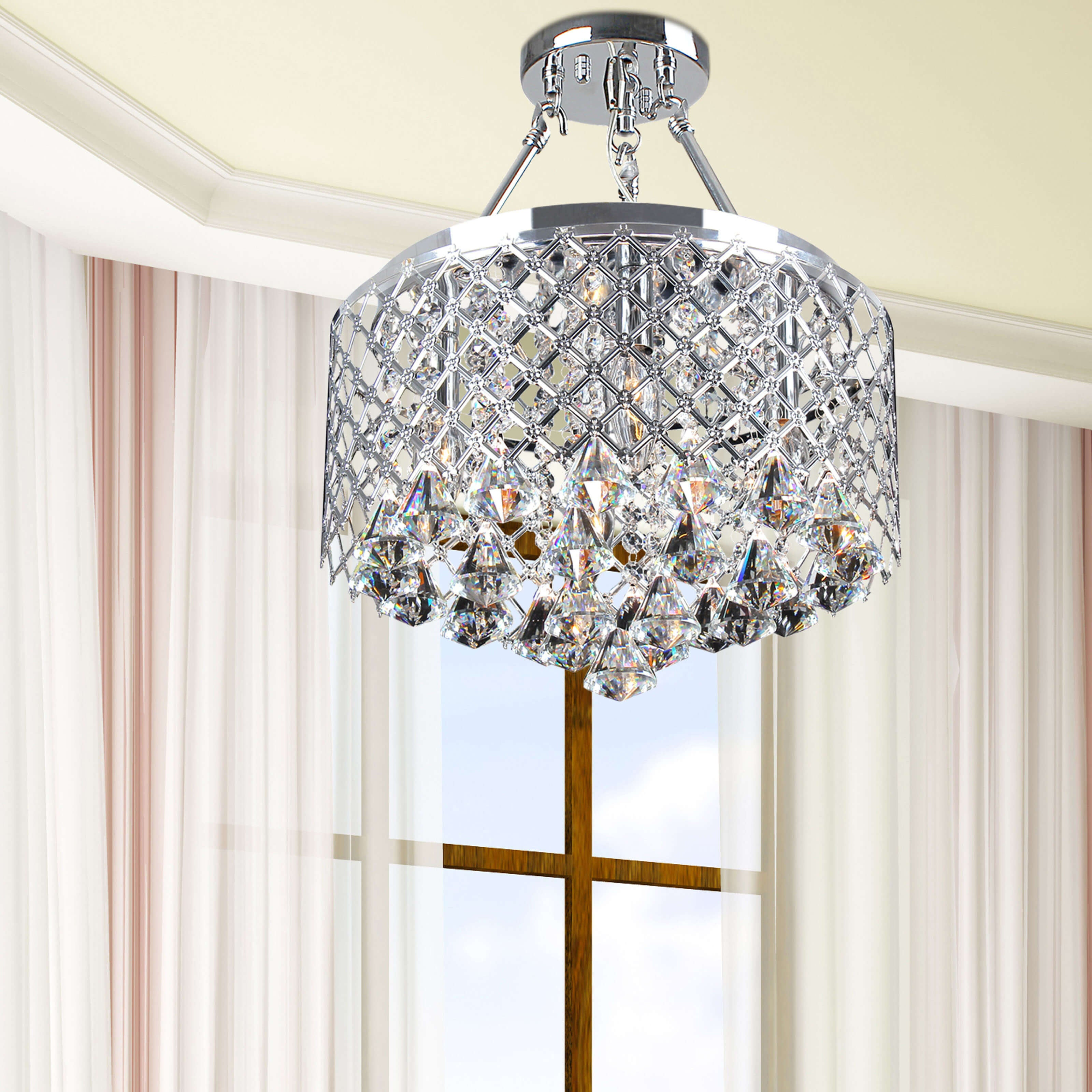 Silver Orchid Leblanc 4 Light Chrome Semi Flush Mount Crystal Chandelier