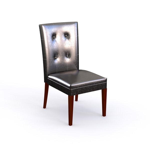 Porch & Den Jonestown Albemarle Medium Cherry Faux Leather Parsons Chair