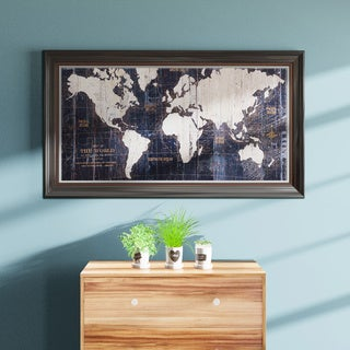 Porch & Den Avery Tillmon 'Old World Map Blue' Canvas Wall Art