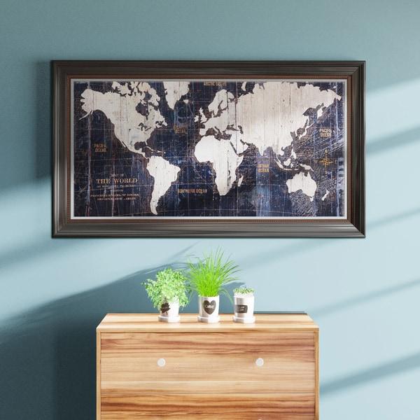 Shop Porch & Den Avery Tillmon \'Old World Map Blue\' Canvas Wall Art ...
