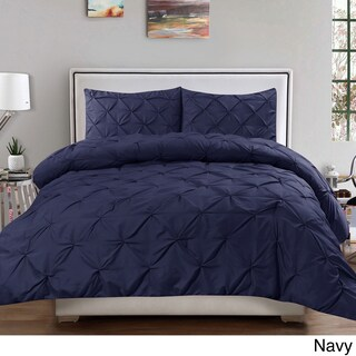 Porch & Den Woodland Springs Lakeshore Luxury 3-piece Pinch Pleat Duvet Cover Set (Option: Navy - King)