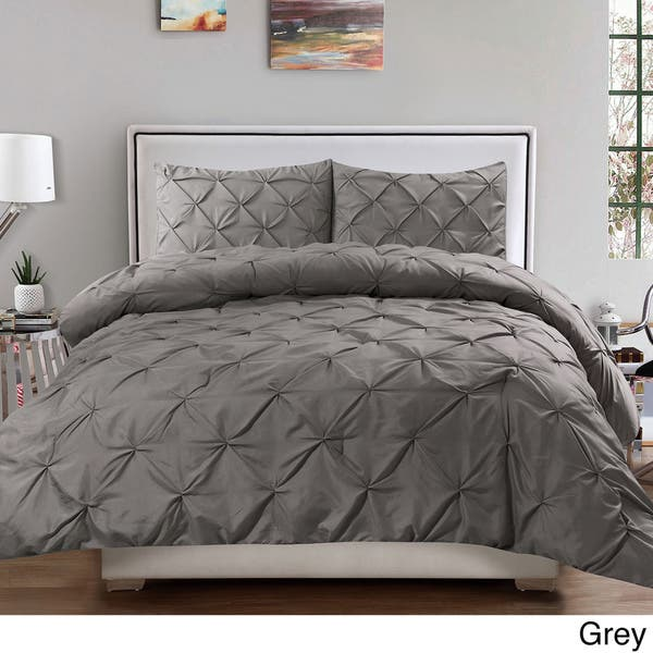 Luxury 3 Piece Pinch Pleat Duvet Cover Set On Sale Overstock 19211972
