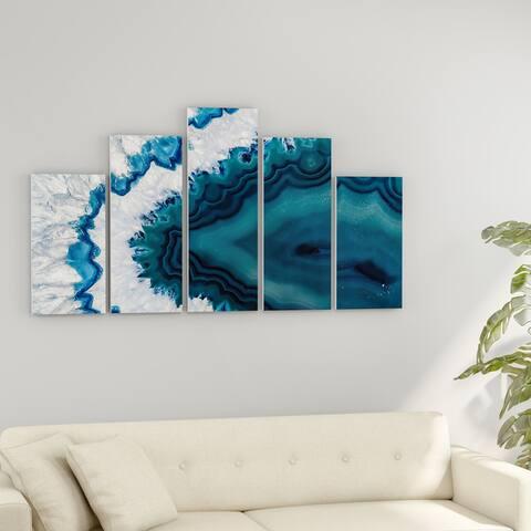 Strick & Bolton 'Blue Brazilian Geode' Abstract Canvas Wall Art Print