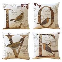 Cotton Linen Pillow Case Love Birds 18 x 18 Set of 4