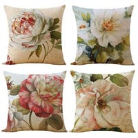 Cotton Linen Pillow Case Pink and Blue Flowers Set of 4