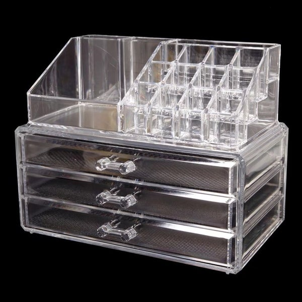 1286205c62b4 Shop Makeup Cosmetics Jewelry Organizer Clear Acrylic 3 Drawers Box Storage  - Free Shipping Today - Overstock - 19212055