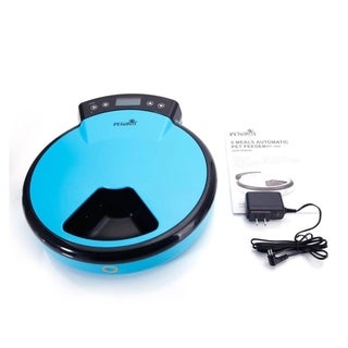 LCD Automatic Pet Feeder Dogs Cats 5 Meals for Dry Semi-wet Food Blue