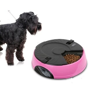 6 Meal Automatic Pet Feeder Auto Dog Cat Food Bowl Dispenser Pink