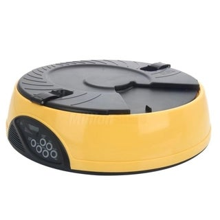 6 Meal Timed Automatic Pet Feeder Auto Dog Cat Food Bowl Yellow