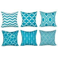 Cotton Linen Pillow Case Turquoise Pattern 18 x 18 Set of 6