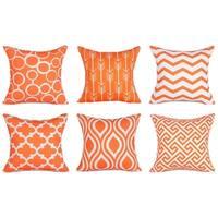 Cotton Linen Pillow Case Orange Pattern 18 x 18 Set of 6