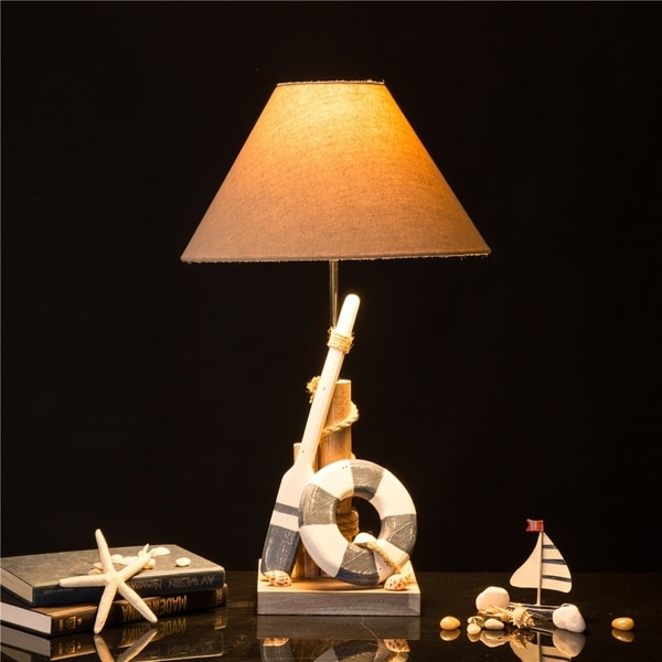 Glitzhome Wooden Coastal Table Lamp