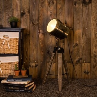 Glitzhome Solid Wood and Metal Antique Brass Finish Tripod Table Lamp