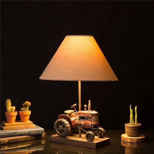 Glitzhome Polyresin Farmhouse Truck Table Lamp