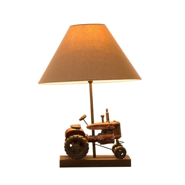 Glitzhome Polyresin Farmhouse Truck Table Lamp