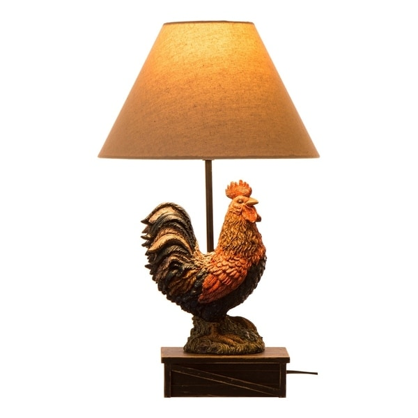 Attirant Glitzhome Rooster Beige Polyresin 20 Inch Vintage Style Table Lamp