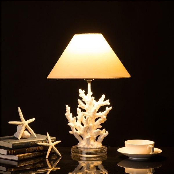 Glitzhome Polyresin Coral Table Lamp