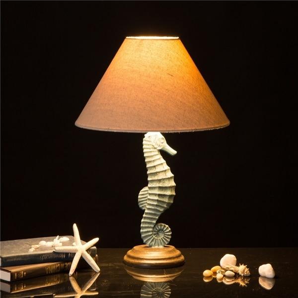 Glitzhome Polyresin Seahorse Table Lamp