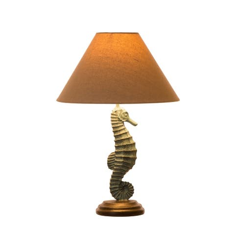 "Glitzhome Polyresin Seahorse Table Lamp - 21""H"
