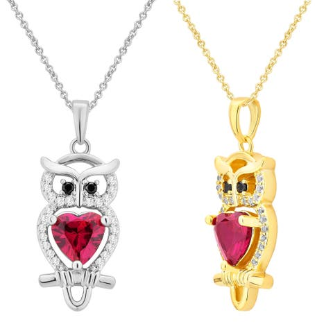 Divina 14K Gold overlay Ruby, Black Onyx and White Sapphire Owl Pendent