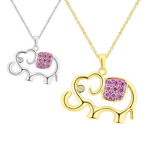 Divina 14K Gold overlay Ruby and White Sapphire Elephent Pendent