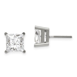 14 Karat White Gold 5.0 mm Square Brilliant True Light Moissanite 4-Prong Basket Threaded Post Earrings