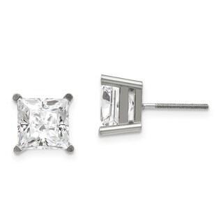 14 Karat White Gold 4.0 mm Square Brilliant True Light Moissanite 4-Prong Basket Threaded Post Earrings