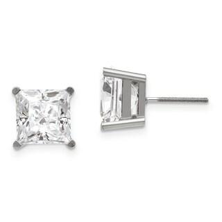 14 Karat White Gold 5.5 mm Square Brilliant True Light Moissanite 4-Prong Basket Threaded Post Earrings
