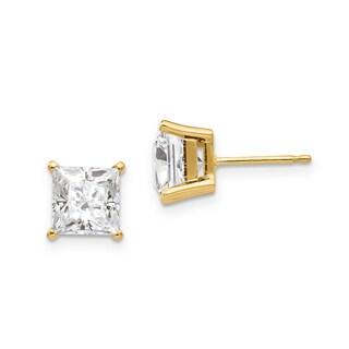 14 Karat Yellow Gold 4.0 mm Square Brilliant True Light Moissanite 4-Prong Basket Post Earrings