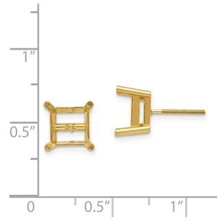 14 Karat Yellow Gold 4.0 mm Square Brilliant True Light Moissanite 4-Prong Basket Threaded Post Earrings