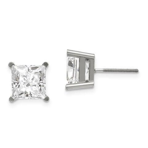 Moissanite 14 Karat White Gold 4.5 mm Square Brilliant 4-Prong Basket Threaded Post Earrings by Versil