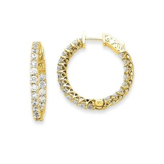 14 Karat Yellow Gold True Light Moissanite Round Hoop With Safety Clasp Mountings2.4 Carat Earrings