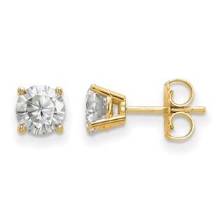 14 Karat Yellow Gold 4 Prong 5.5mm True Light Moissanite Earrings