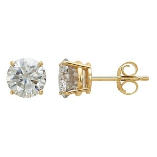 14 Karat Yellow Gold 6.0 mm Round True Light Moissanite 4-Prong Basket Post Earrings