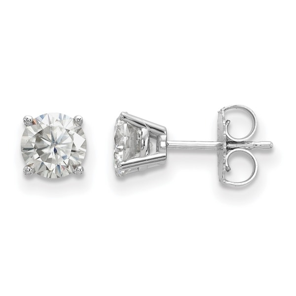 14 Karat White Gold 4 Prong 5.5mm True Light Moissanite Earrings