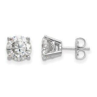 14 Karat White Gold 4 Prong 8.0mm True Light Moissanite Earrings