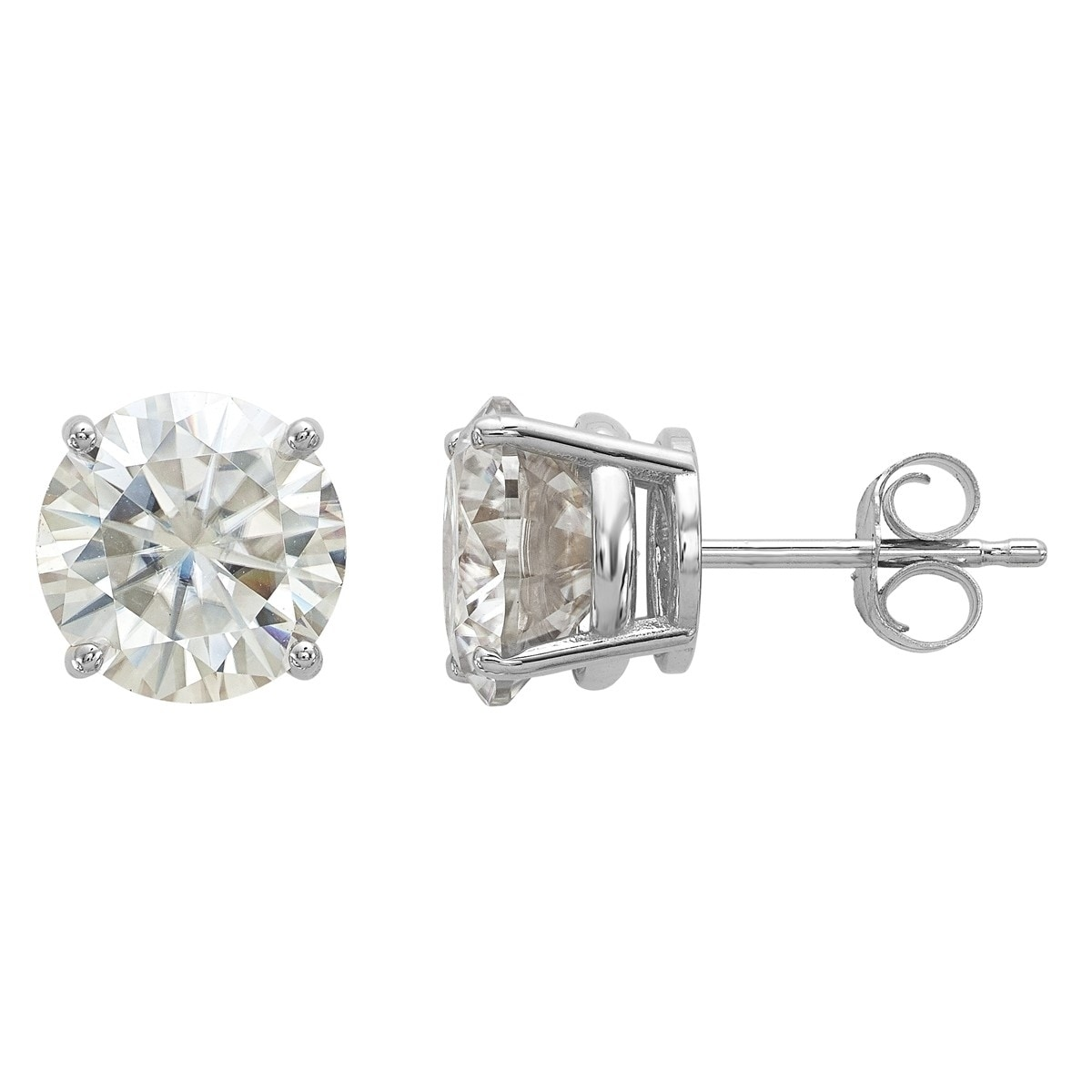 4a40a4a8d Shop Versil 14 Karat White Gold 8.0mm Round True Light Moissanite Basket  Post Earrings - On Sale - Free Shipping Today - Overstock - 19212905