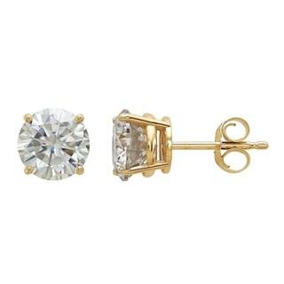 14 Karat Yellow Gold 6.5 mm Round True Light Moissanite 4-Prong Basket Post Earrings