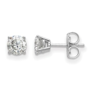 14 Karat White Gold 4 Prong 5.0mm True Light Moissanite Earrings